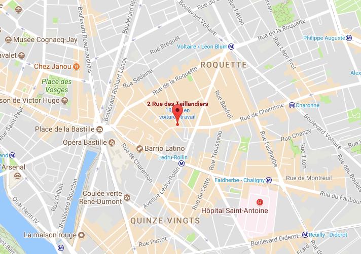 Map mobile : 2 rue Taillandiers, Paris